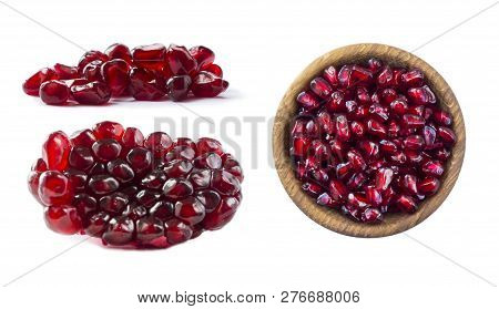 Set Of Pomegranate Seeds. Pomegranate Isolated On White Background. Sweet And Juicy Garnet With Copy