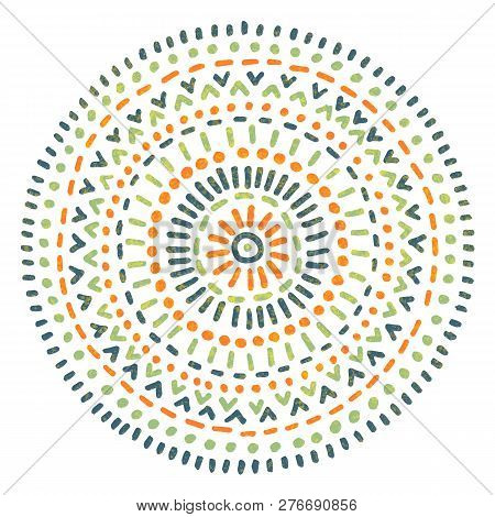 Mandala Drawn By Hand In A Vintage Style. Circle Pattern. Grunge Texture. Vector Illustration.