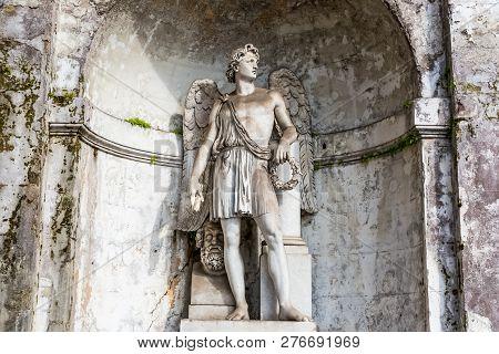 Rome, Italy - June 19, 2018: Roman Antique Statue Of Marble. Roman Style Sculpture