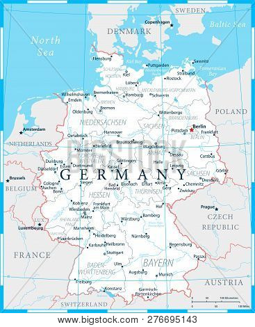 Germany Map - White And Grid - Detailed Vector Illustration