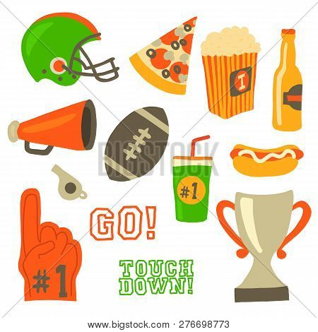 Football Party Vector Icon Set. Super Bowl Celebration. American Football Vintage Retro Style. Sport