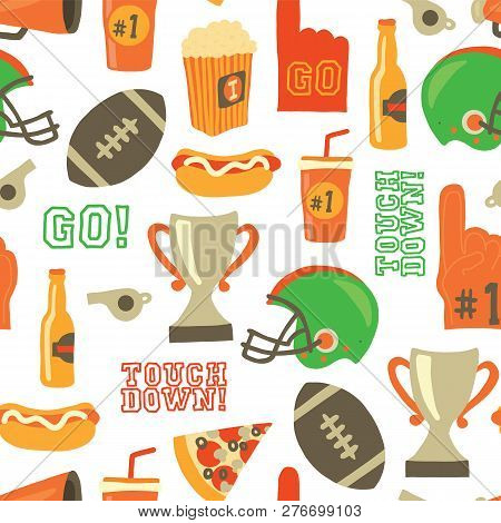 American Football Seamless Vector Pattern. Super Bowl, Helmet, Trophy, Beer, Foam Finger, Fast Food,