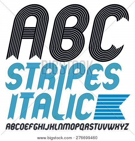 Set of cool vector upper case English alphabet letters, abc isolated. Funky italic bold font, typescript for use in logo design. Made with stripy decoration. poster