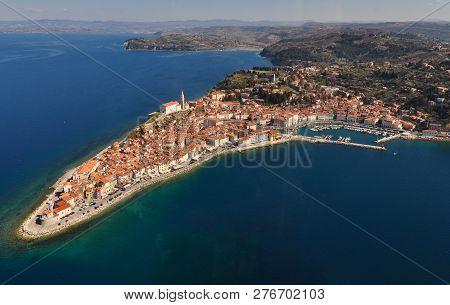 Aerial View Of Mediaeval Coastal Town Piran In Slovenia, Mediterranean Coast, Adriatic Sea, Travel A