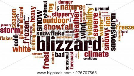 Blizzard Word Cloud Concept. Vector Illustration  On White