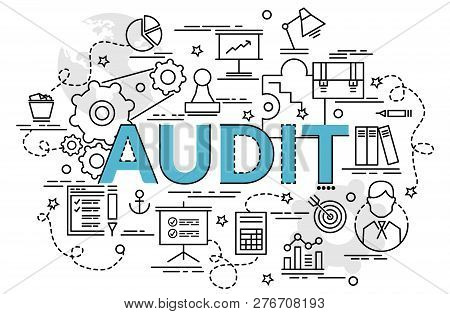 Flat Colorful Design Concept For Audit. Infographic Idea Of Making Creative Products. Template For W