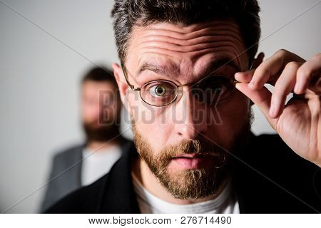 Now i see everything. Picky smart inspector. Man handsome bearded guy wear eyeglasses. Eye health and sight. Optics and vision concept. Smart glance. Accessory for smart appearance. Attentive glance. poster