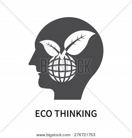 Eco Thinking Icon Isolated On White Background. Eco Thinking Icon Simple Sign. Eco Thinking Icon Tre
