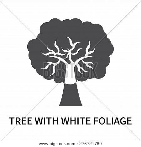 Tree With White Foliage Icon Isolated On White Background. Tree With White Foliage Icon Simple Sign.