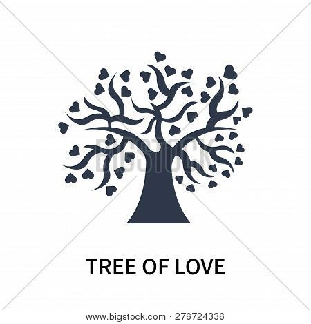 Tree Of Love Icon Isolated On White Background. Tree Of Love Icon Simple Sign. Tree Of Love Icon Tre