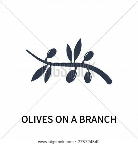 Olives On A Branch Icon Isolated On White Background. Olives On A Branch Icon Simple Sign. Olives On