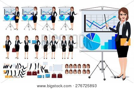Female Business Characters Set With Young Woman Talking And Showing Business Presentation Chart In W