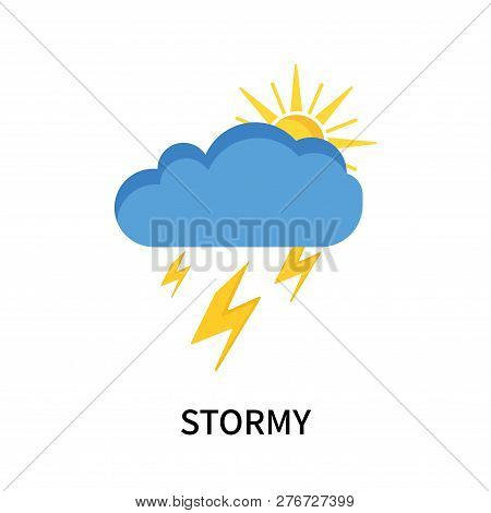 Stormy Icon Isolated On White Background. Stormy Icon Simple Sign. Stormy Icon Trendy And Modern Sym