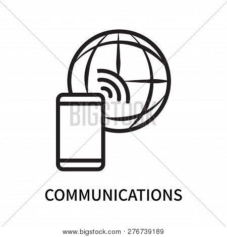 Communications Icon Isolated On White Background. Communications Icon Simple Sign. Communications Ic