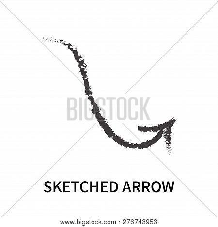 Sketched Arrow Icon Isolated On White Background. Sketched Arrow Icon Simple Sign. Sketched Arrow Ic