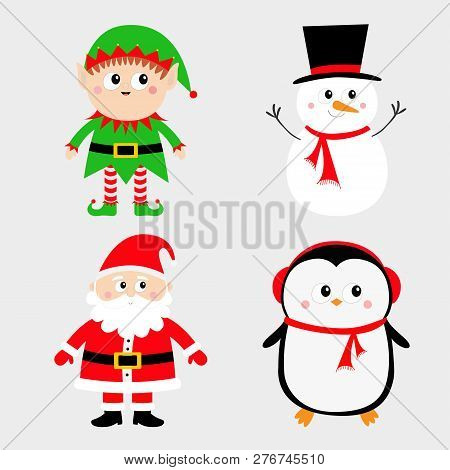 d0af0899644fe Merry Christmas. Red green black hat. Cute cartoon funny kawaii baby  character. Greeting card. Flat design. Gray background. Vector illustration