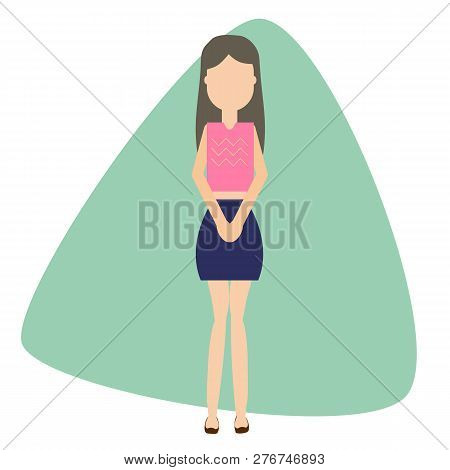 Female Urinary Incontinence Concept. Girl Holding Pee. Urinary Problems Vector Illustration.