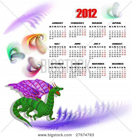 Calendar of 2012 with a green dragon poster