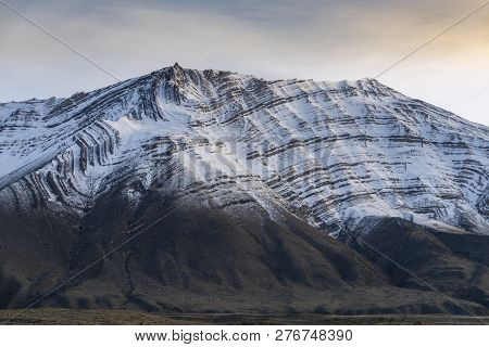 Fold Mountain With Layers Of Rock In Patagonia Of Argentina