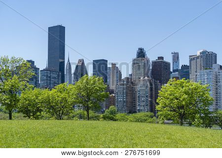 View Of Park And Skyline Of Midtown Manhattan In New York City