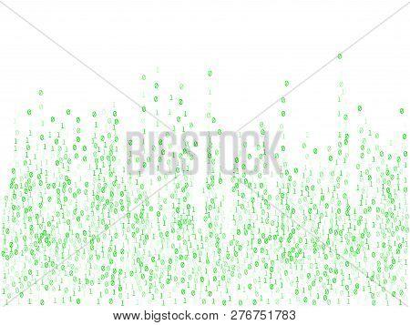 Binary Code Programming Background. Hacker Coding Concept, Row Matrix Vector. Information Decryption