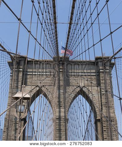 Brooklyn Bridge In New York City Against Clear Blue Sky