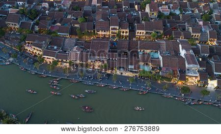 Aerial View Of Hoi An Old Town Or Hoian Ancient Town In Night. Royalty High-quality Free Stock Photo