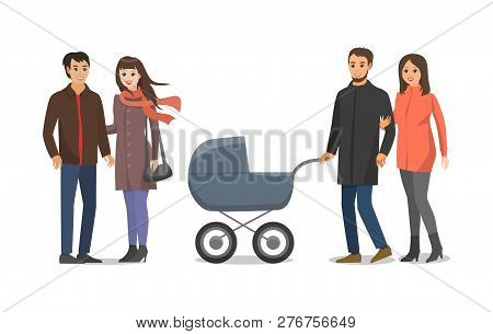 Couple People In Love Husband And Wife Walking With Perambulator And Kid Inside. Family Mother And F