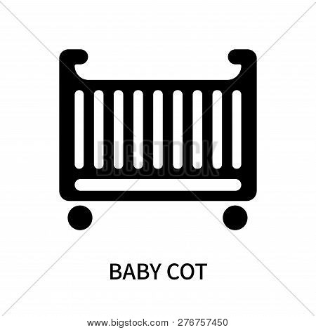 Baby cot icon isolated on white background. Baby cot icon simple sign. Baby cot icon trendy and modern symbol for graphic and web design. Baby cot icon flat vector illustration for logo, web, app, UI. poster