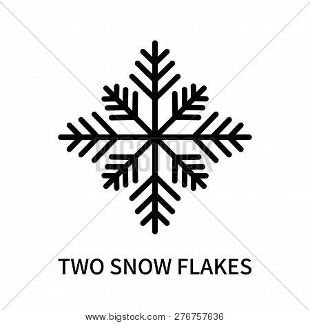 Two Snow Flakes Icon Isolated On White Background. Two Snow Flakes Icon Simple Sign. Two Snow Flakes