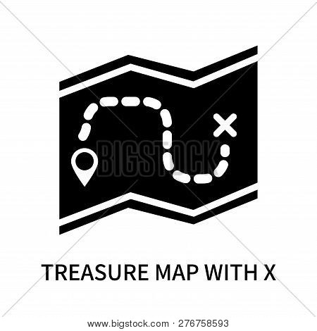 Treasure Map With X Icon Isolated On White Background. Treasure Map With X Icon Simple Sign. Treasur