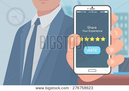 Share Experience Mobile Application Rating Vector. User Of App For Buying Product Online With Cell S