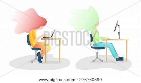 Ergonomic, Wrong And Correct Sitting Spine Posture. Healthy Back And Posture Correction Illustration