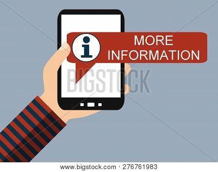 Hand Holding Smartphone Info Icon: More Information - Flat Design