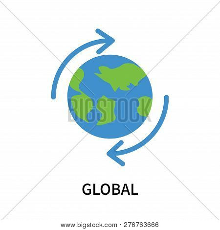 Global Icon Isolated On White Background. Global Icon Simple Sign. Global Icon Trendy And Modern Sym