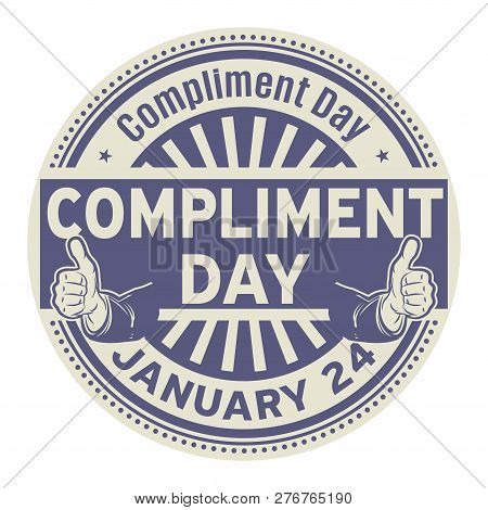 Compliment Day, January 24, Rubber Stamp, Vector Illustration