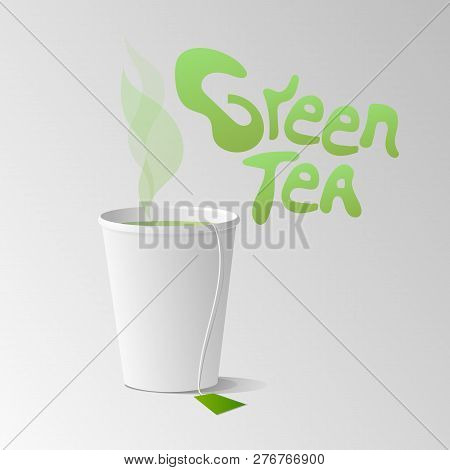 Paper cup with green tea vector illustration poster