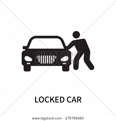 Locked Car Icon Isolated On White Background. Locked Car Icon Simple Sign. Locked Car Icon Trendy An