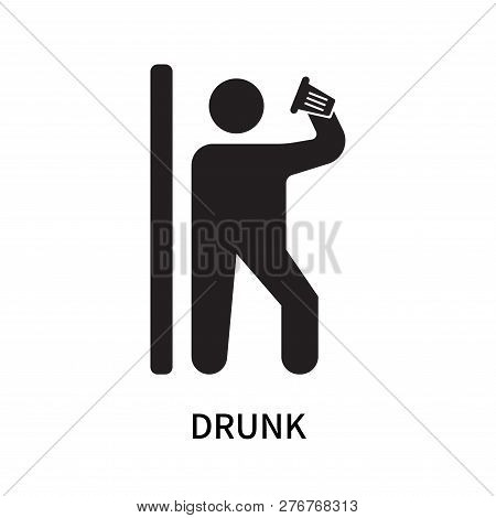 Drunk Icon Isolated On White Background. Drunk Icon Simple Sign. Drunk Icon Trendy And Modern Symbol