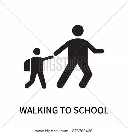 Walking To School Icon Isolated On White Background. Walking To School Icon Simple Sign. Walking To