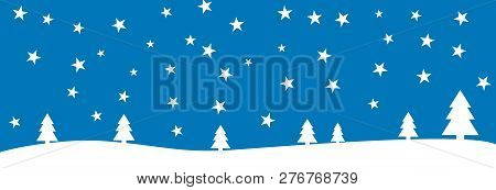 Blue Background Banner With Whiter Winter Landscape Fir Trees And Stars