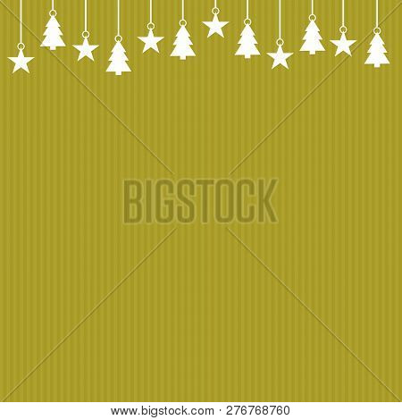 Striped Golden Background Christmas Card With White Decoration