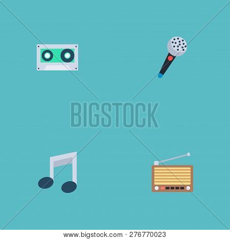 Set Of Music Icons Flat Style Symbols With Cassette, Microphone, Retro Tuner And Other Icons For You