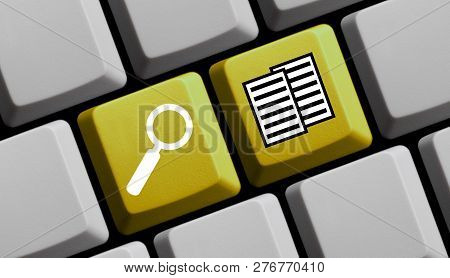 Yellow Computer Keyboard With Magnifier Glass Showing Documents