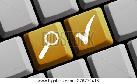 Yellow Computer Keyboard With Magnifier Glass Showing Tick For Solution Or Check