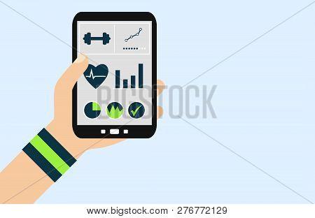 Hand Holding Smartphone: Fitness App - Flat Design