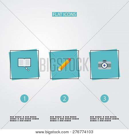 Set Of Creative Icons Flat Style Symbols With Knowledge, Pencil, Dslr Camera And Other Icons For You