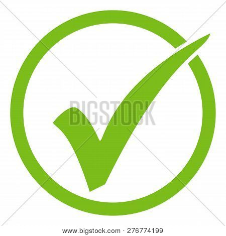 Green Isolated Tick Icon In Circle On White