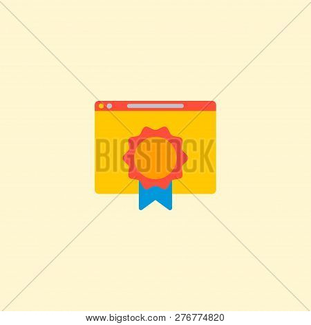 Best Quality Website Icon Flat Element.  Illustration Of Best Quality Website Icon Flat Isolated On