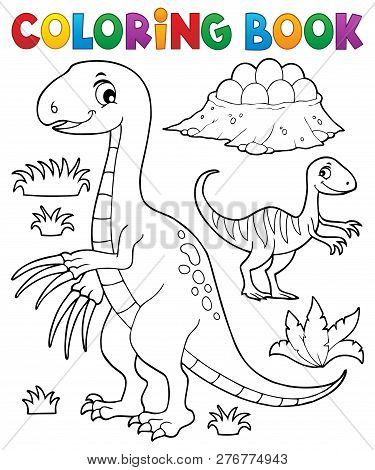 Coloring Book Dinosaur Subject Image 3 - Eps10 Vector Picture Illustration.